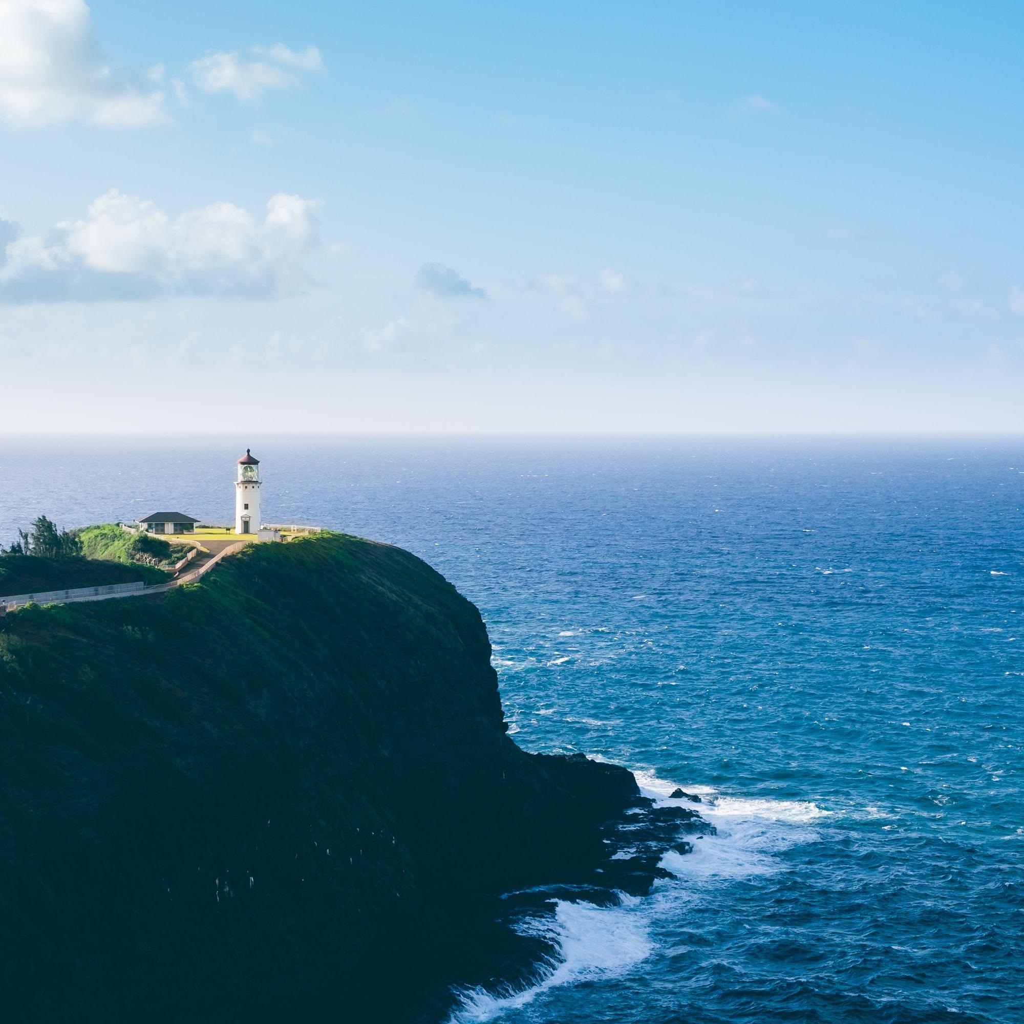 Landscape view of Kilauea lighthouse on Kauai